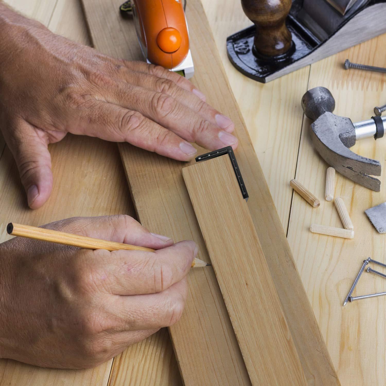 Negro Housolution Herramienta de Dibujo de L/ínea /ángulo 45 Grados /Ángulo y L/ínea Recto de Carpinter/ía Redondo Centro de Carpinter/ía Herramientas de Marcaci/ón para Dibujo de Carpinter/ía