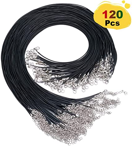 TUPARKA 120PCS Black Necklace Cord with Clasp 20 Inches Waxed Necklace Cord for Necklace Bracelet Jewelry Making