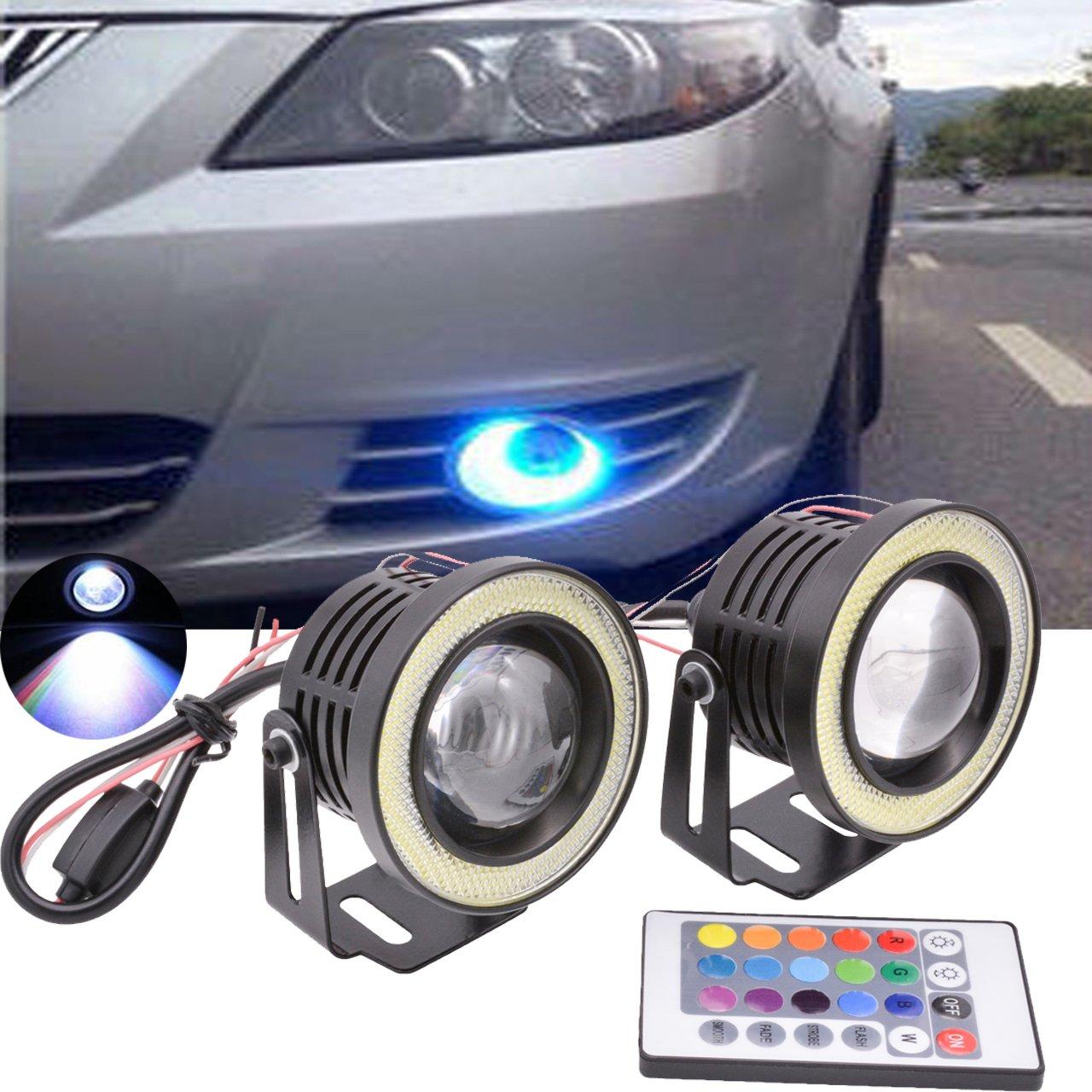 TUINCYN 3.5 Zoll Projektor universal RGB LED Birne Weiß COB halo engel eye ringe Verwendet für Tagfahrlicht DRL Autofahrlicht (2er Pack)