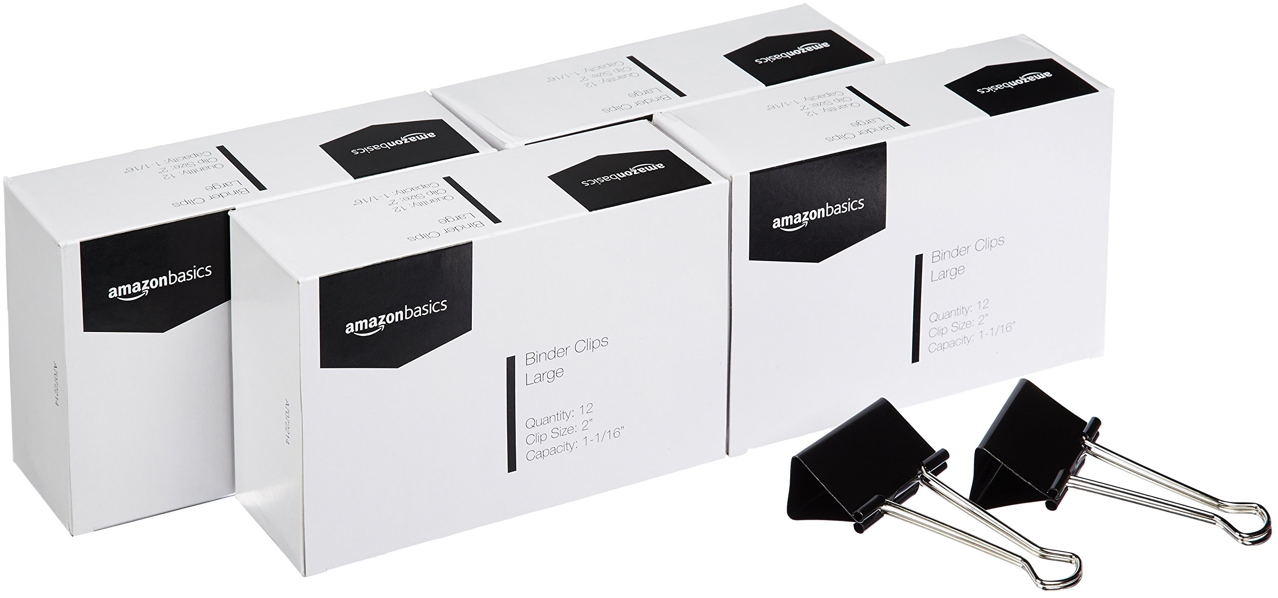AmazonBasics Binder Clips, Large, 12 per Box, 4-Pack