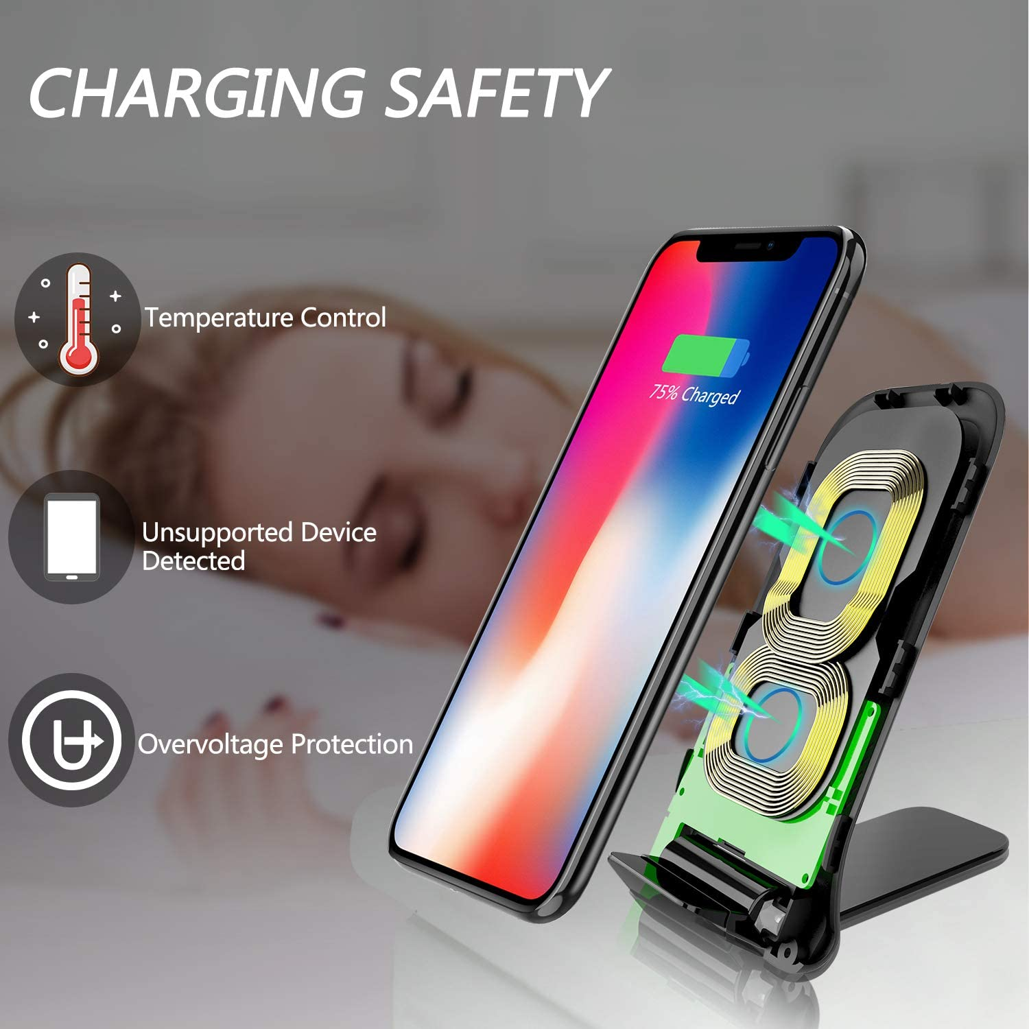 BIAL Wireless Charger Qi-Certified Fast Wireless Charging Stand 7.5W Charging Compatible with iPhone X//8//8 Plus,10W Wireless Charging Compatible Samsung S9//S9+//S8//S8+//S7//Note 8 No AC Adapter