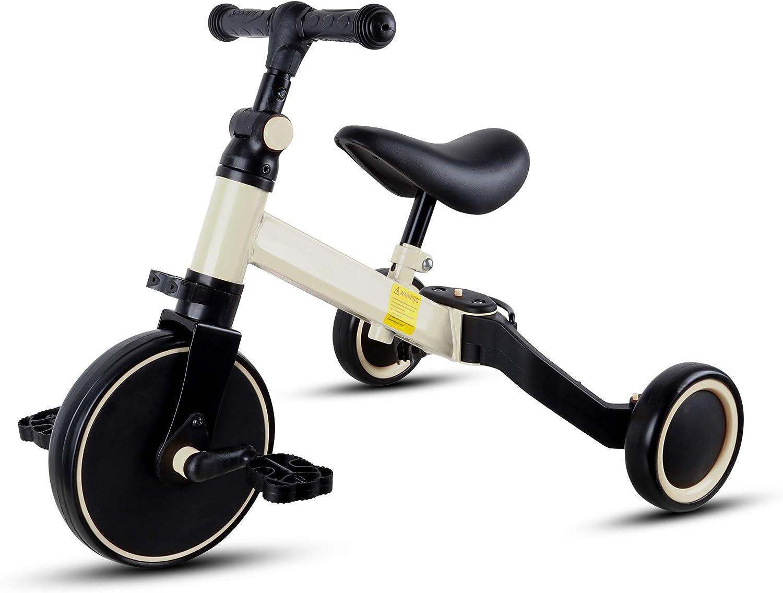 Jedona Triciclo para Niños,3 En 1 Triciclo Fácilmente Plegable, Bicicleta De Equilibrio De Asiento Ajustable, Triciclo para Niños Bicicleta De Bebé De 3 Ruedas para Niños Y Niñas De 1 A 6 Años