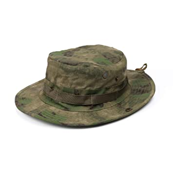 d6a7af00d GreenCity Men Boonie Jungle Camo Hat Military Ripstop Breathable Headwear  Bucket Sun Hat with Chin Strap Brass Vents Wide Brim Cap for Outdoor  Hunting ...