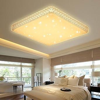 VGO® 60W LED Kristall Deckenleuchte Starlight Effekt Mordern Schlafzimmer  Deckenbeleuchtung Warmweiß Panel Lampe 2700K
