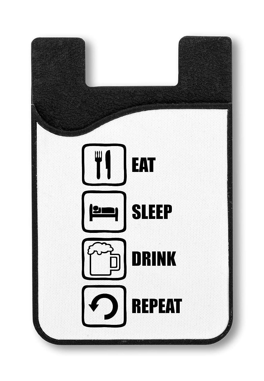 Eat Sleep Drink Repeat Funny Black Graphic Titulaire de la Carte de crédit pour Smartphone