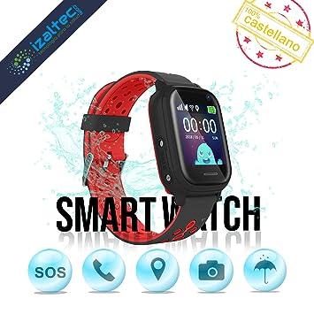 distribuidor mayorista 7176d 6e694 Smartwatch para niños con localizador GPS, Llamadas y cámara de Fotos.  Reloj Inteligente acuático con IP67 para niños de 3 a 13 años (Rojo y Negro)