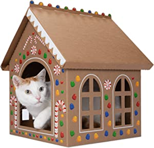Gingerloaf House - Christmas Holiday Gingerbread Playhouse for Cats, Kittens, Rabbits & Bunny. Cardboard Box House Condo Cave Includes Giant Sticker Sheet for Decorating