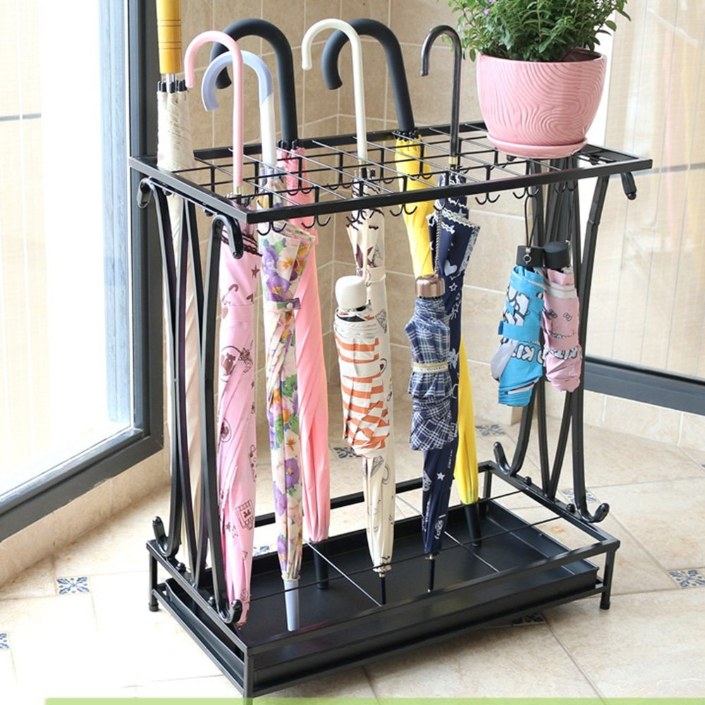 QFFL yusanjia Iron Art Multi-Standard Large Capacity Umbrella Stand/Hotel Lobby Household Creative Floor-Standing Rain Gear/Practical Anti-Corrosion Umbrella Storage Shelves (3 Colors 5 Sizes Opt