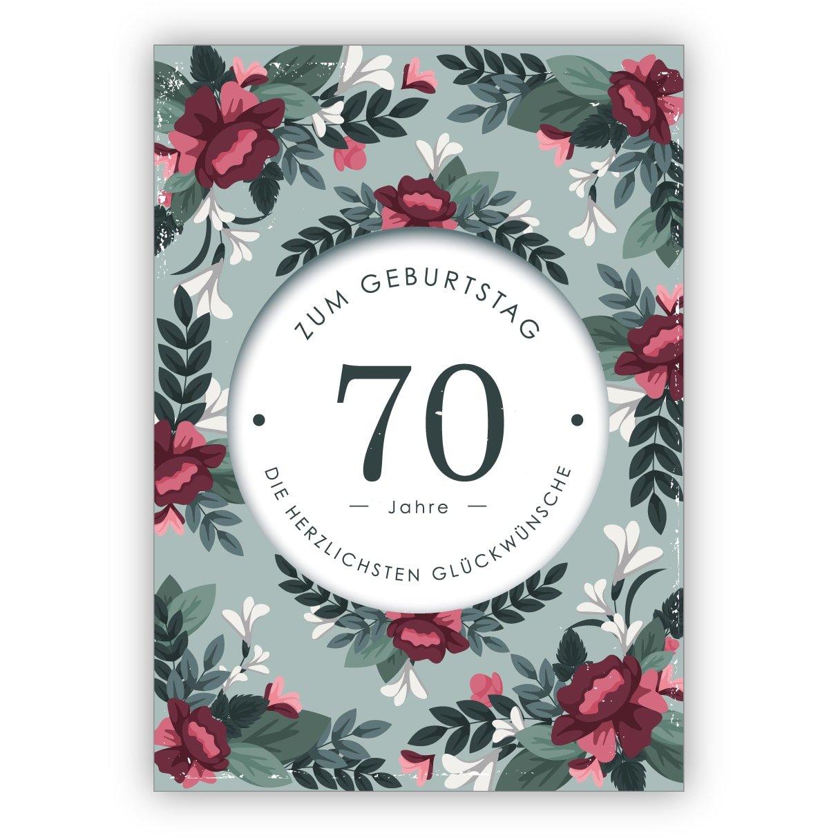 16er Set privat & gewerblich: Klassisch liebevolle Geburtstagskarte mit dekorativen Blumen zum 70. Geburtstag: 70 Jahre zum Geburtstag die herzlichsten Glückwünsche - für Firmenkunden