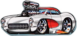 Open Road Brands Rohan Day White Hot Rod Car Tin Metal Magnet - an Officially Licensed Product Great Small Gift and Addition to Add What You Love to Your Home/Garage Decor