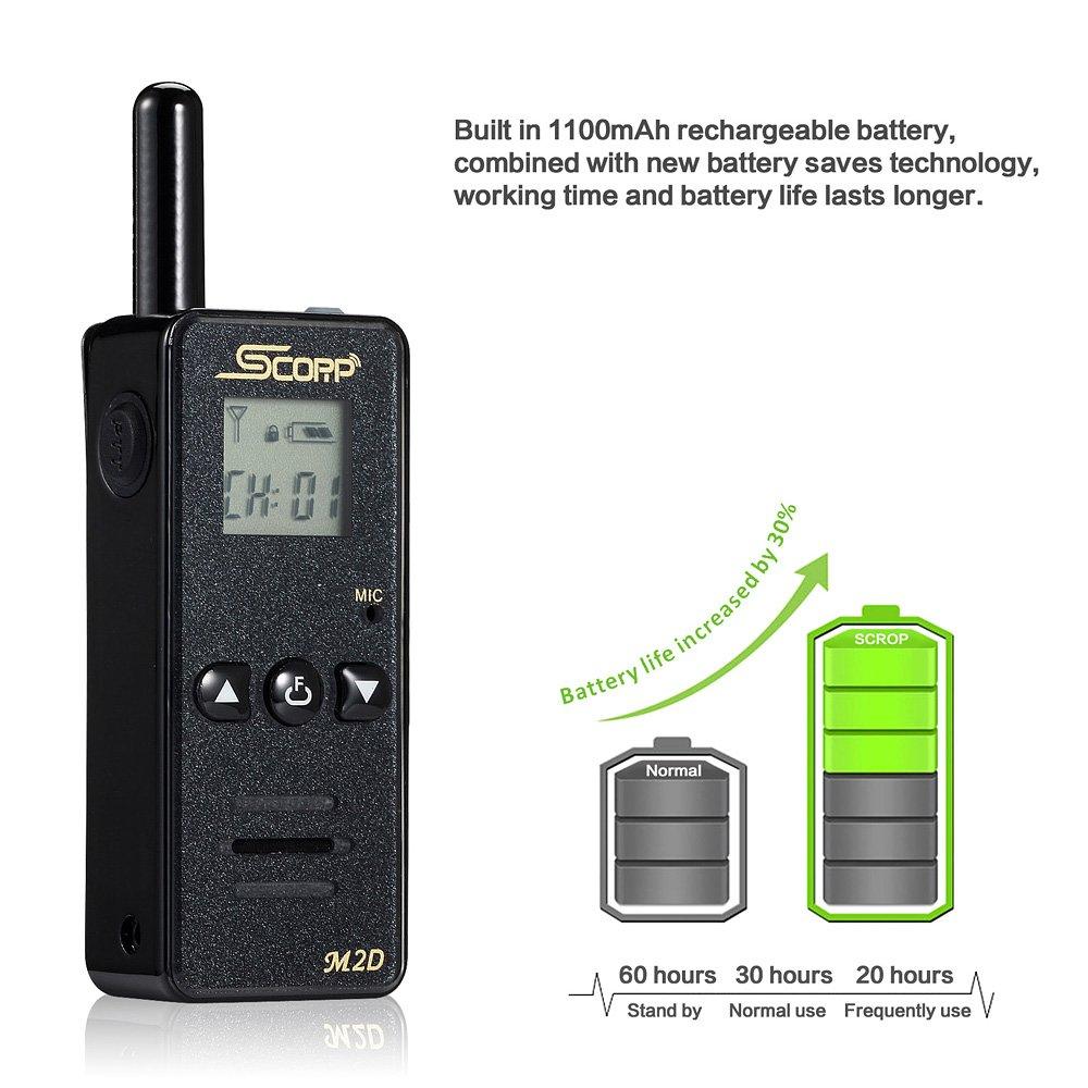Mini Two Way Radio 128 Channels Up to 3 Miles LCD Display UHF Handheld Walkie Talkies with Earpiece M2D 2pcs Pack, Black SCORP Walkie Talkie