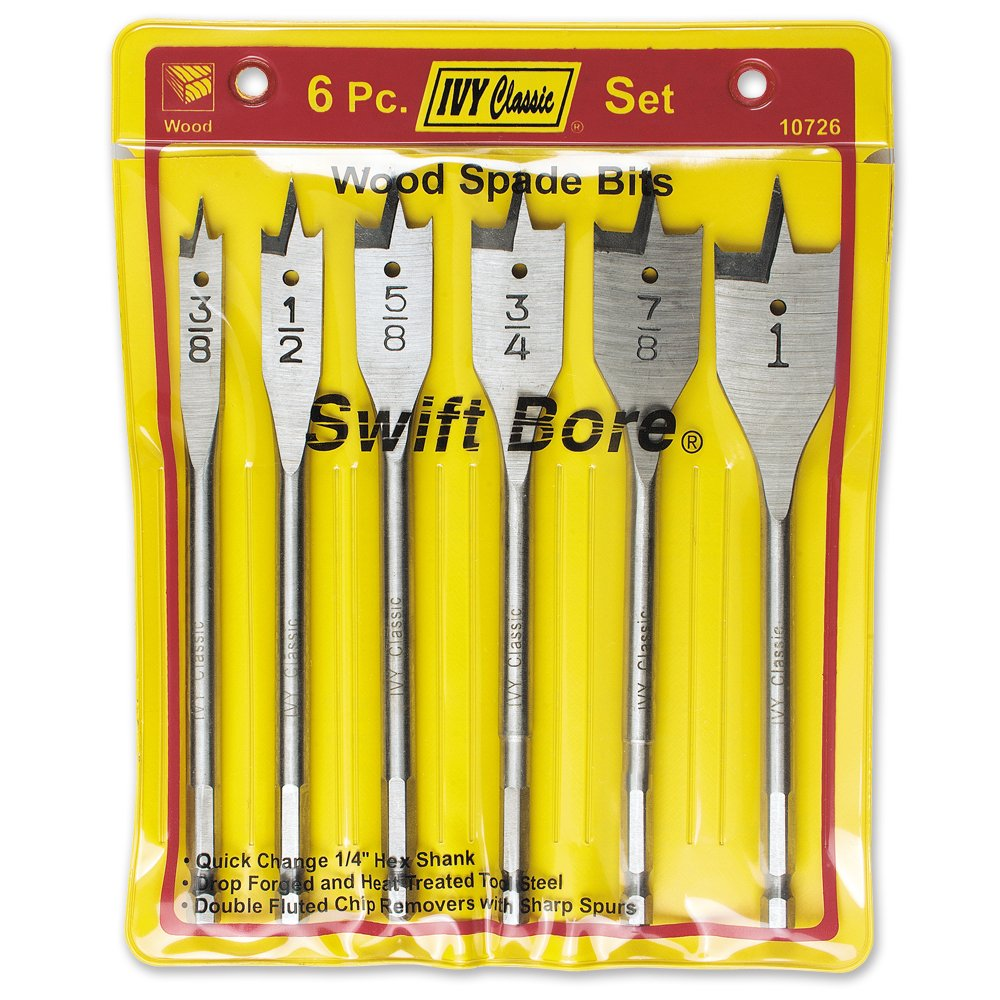 1//Card High-Carbon Steel IVY Classic 10720 1-1//4 x 6-Inch Swift Bore Wood Spade Bit