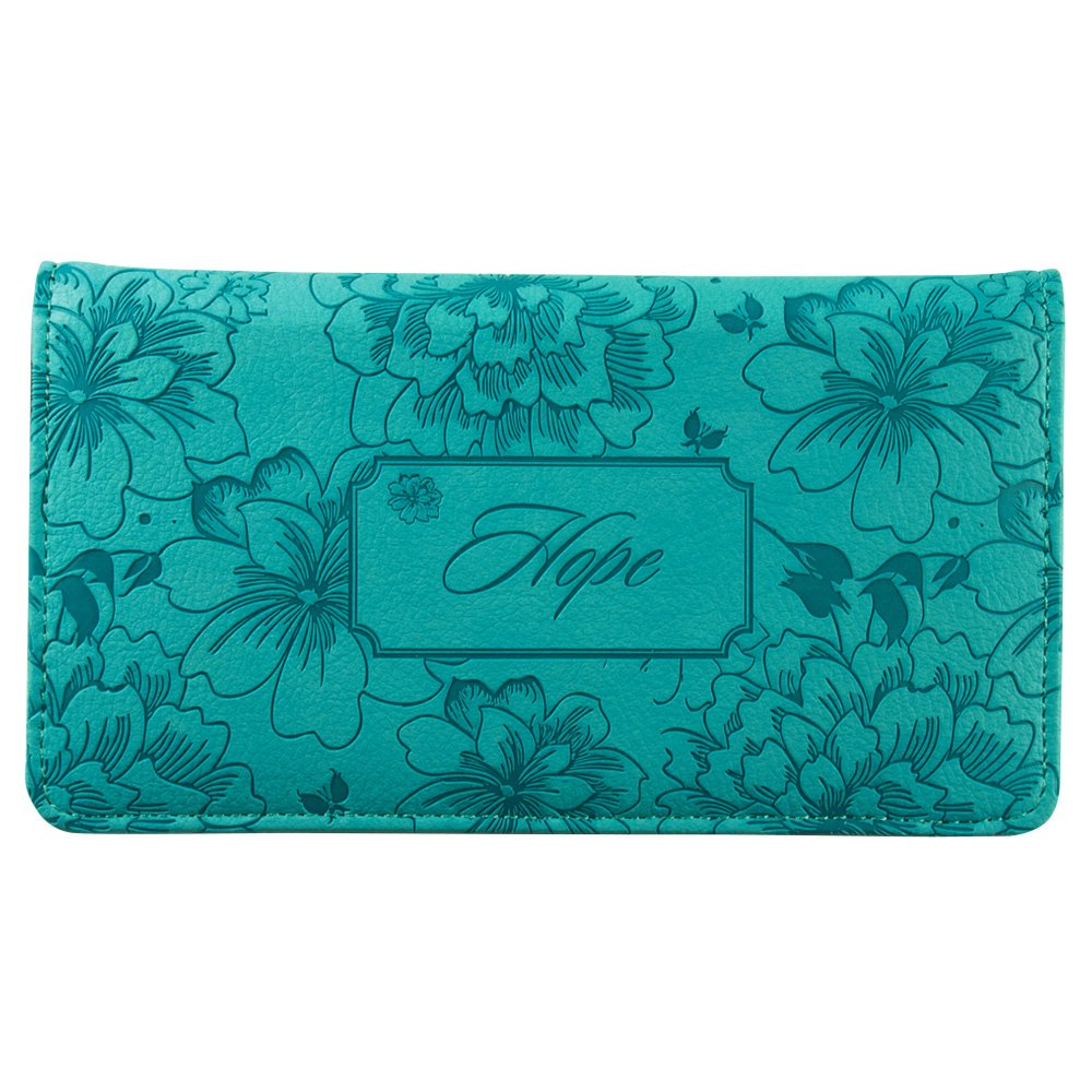 """Hope"" Turquoise Floral Checkbook Cover Christian Art Gifts CHB020"