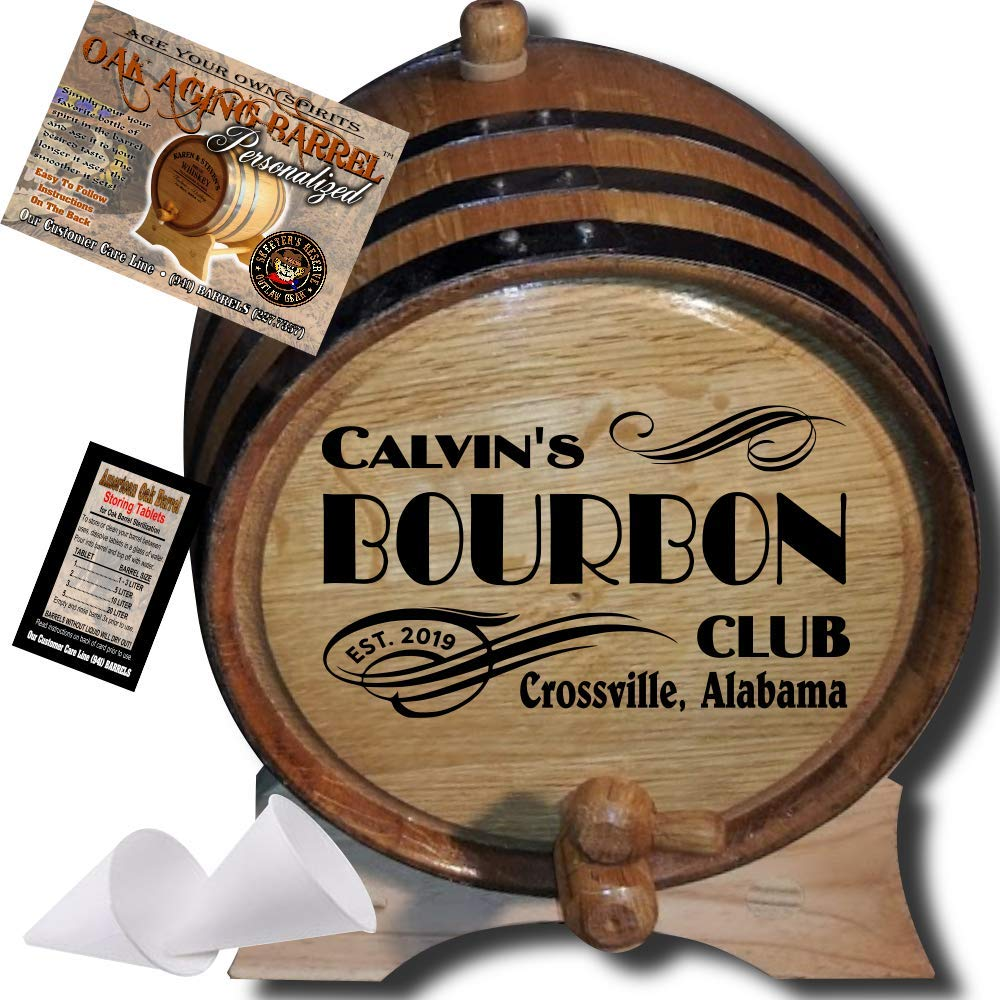 Personalized American Oak Bourbon Aging Barrel (202) - Custom Engraved Barrel From Skeeter's Reserve Outlaw Gear - MADE BY American Oak Barrel - (Natural Oak, Black Hoops, 2 Liter)