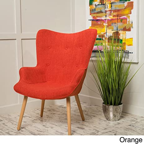 Christopher Knight Home Fayola Mid-Century Fabric Accent Chair Orange & Amazon.com: Christopher Knight Home Fayola Mid-Century Fabric Accent ...