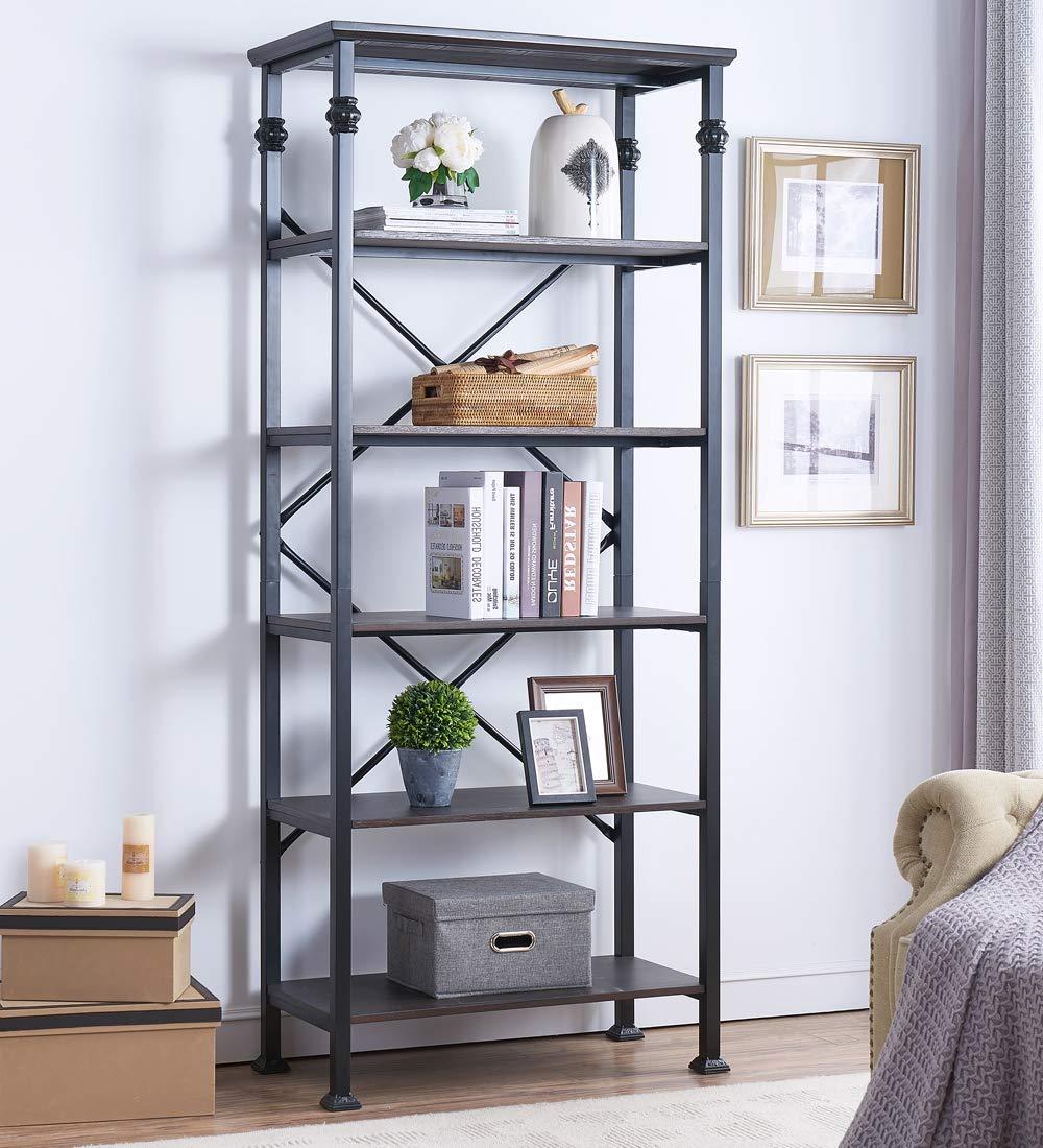 Amazon com ok furniture 6 tier open back bookshelf industrial style bookcases furniture decor home office black espresso kitchen dining