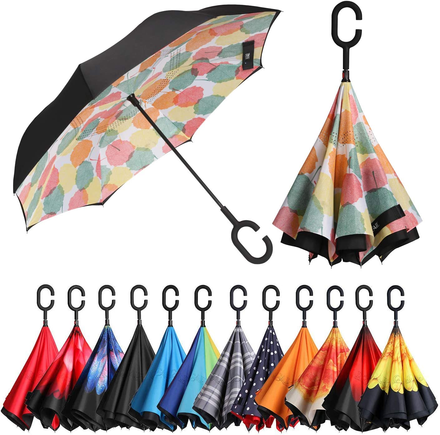BAGAIL Double Layer Inverted Umbrellas Reverse Folding Umbrella Windproof UV Protection Big Straight Umbrella for Car Rain Outdoor with C-Shaped Handle Beige Plaid
