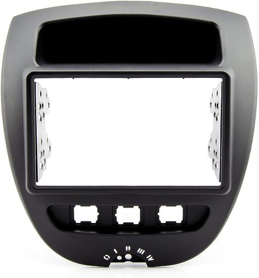 Watermark Autoradio Fa/çade dautoradio double DIN pour Citroen C1/Peugeot 107/Toyota Aygo /à Partir de 2005 noir