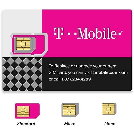 Amazon.com: Tarjeta SIM T-Mobile Micro/Nano/Estándar GSM 4G ...