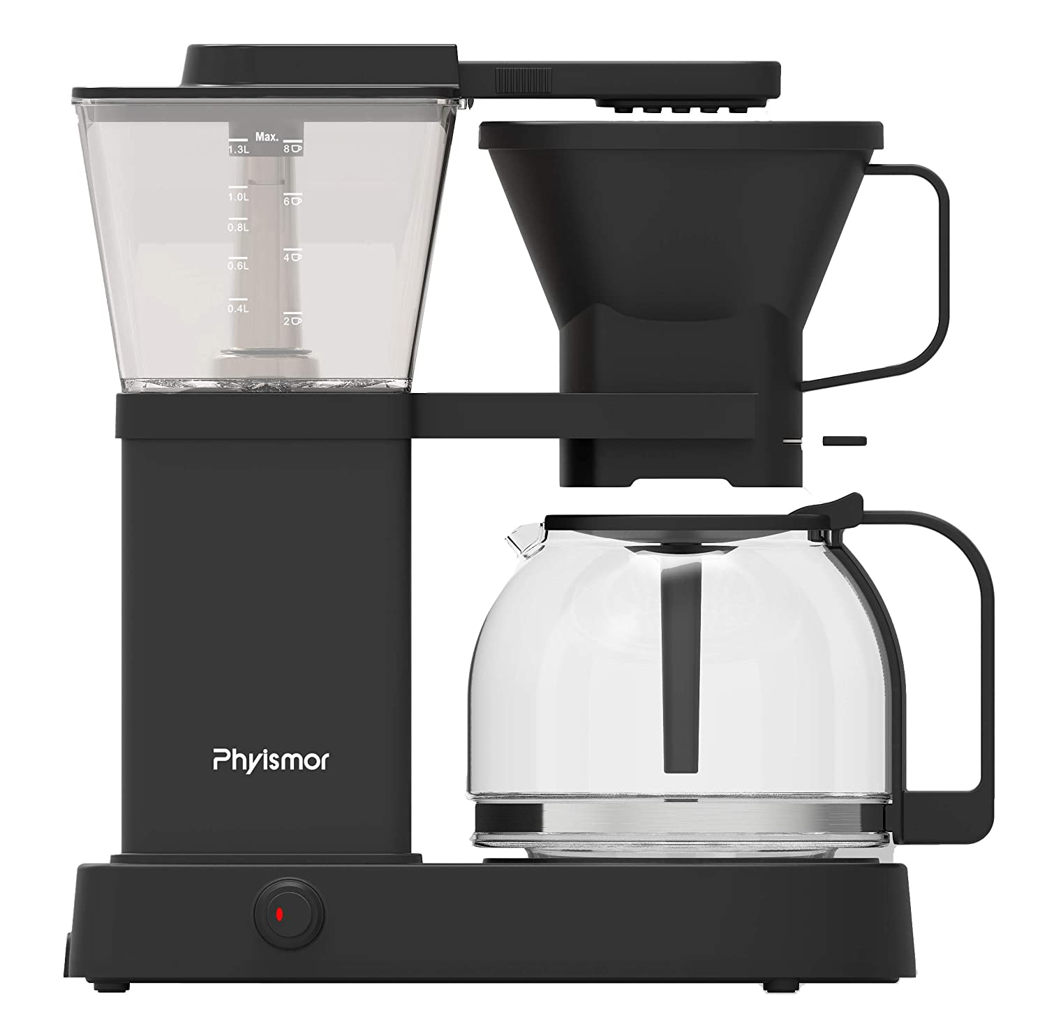 Phyismor Coffee Brewer 8-Cup, Automatic Drip-Stop Coffee Maker, Borosilicate Glass Carafe, Pre-Infusion Mode