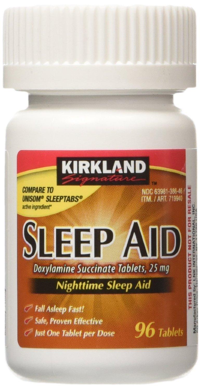 Kirkland Signature Sleep Aid Doxylamine Succinate 25-mg 96 Tabs, 2 Pack