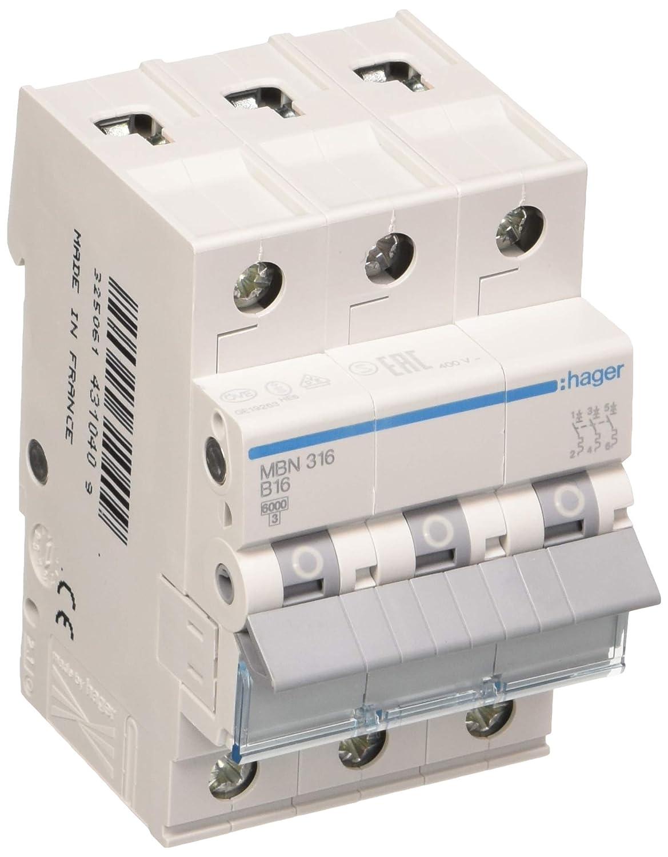 Hager MBN316 interruptor el/éctrico 3P Accesorio cuchillo el/éctrico 3P, 50-60 Hz, 16 A