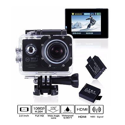 Cámara de acción, camtoa WiFi 14 MP Full HD 1080p 2,0 pulgadas Sport Action Cam ...