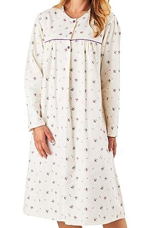 4f457a883c Slenderella Ladies Floral Flannel Nightdress Long Sleeve 100% Brushed Cotton  Nighty UK 16 18 (Cream)  Amazon.co.uk  Clothing