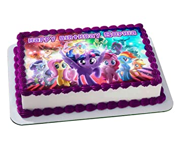 Image Unavailable Not Available For Color MY LITTLE PONY Quarter Sheet Edible Photo Birthday Cake