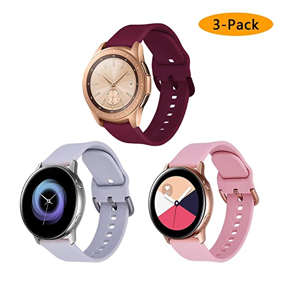 VIGOSS Compatible Galaxy Watch 42mm Bands/Galaxy Watch Active 40mm Band Women 20mm Silicone Strap Replacement Wristband for Samsung Galaxy Watch 42mm ...