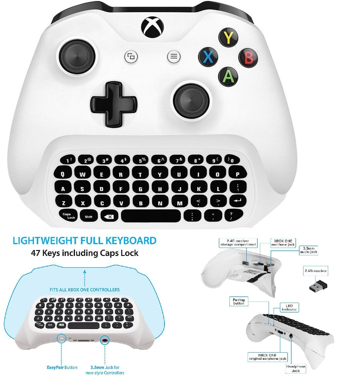 BESTeck Xbox One Mini Keyboard, 2.4G Receiver Wireless Chatpad Message Game Keyboard Keypad for Xbox One / Xbox One S Controller (White)