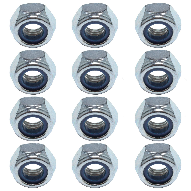 Easyboost 12 Tuercas Autoblocantes M10 Acero Zincado DIN-985 ISO-10511 UNI-7474 Elementos de Fijaci/ón Alta Calidad Bricolaje Modelismo Mec/ánica