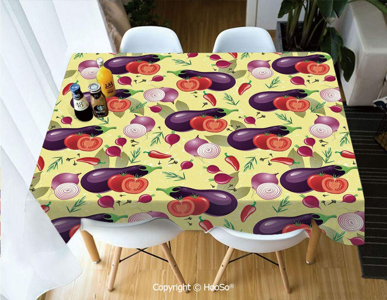 HooSo Premium Polyester Table Cover, Machine Washable, Durable Table Cloths for Wedding Reception Restaurant Banquet Party,Eggplant,Eggplant Tomato Relish Onion Going Green,60''X102'' by HooSo