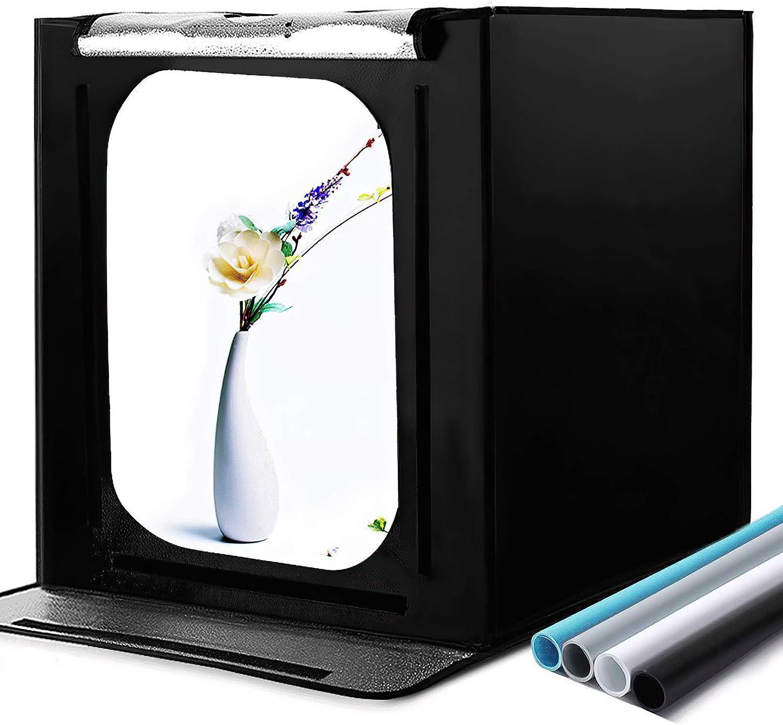 Caja de Fotografía 16 '' x 16 '' x 16 'estudio de fotografía Caja de luz Juego de carpa de tiro con 4 Fondos de Colores y atenuador de brillo para fotografía, publicidad de productos (40 * 40 * 40 cm)