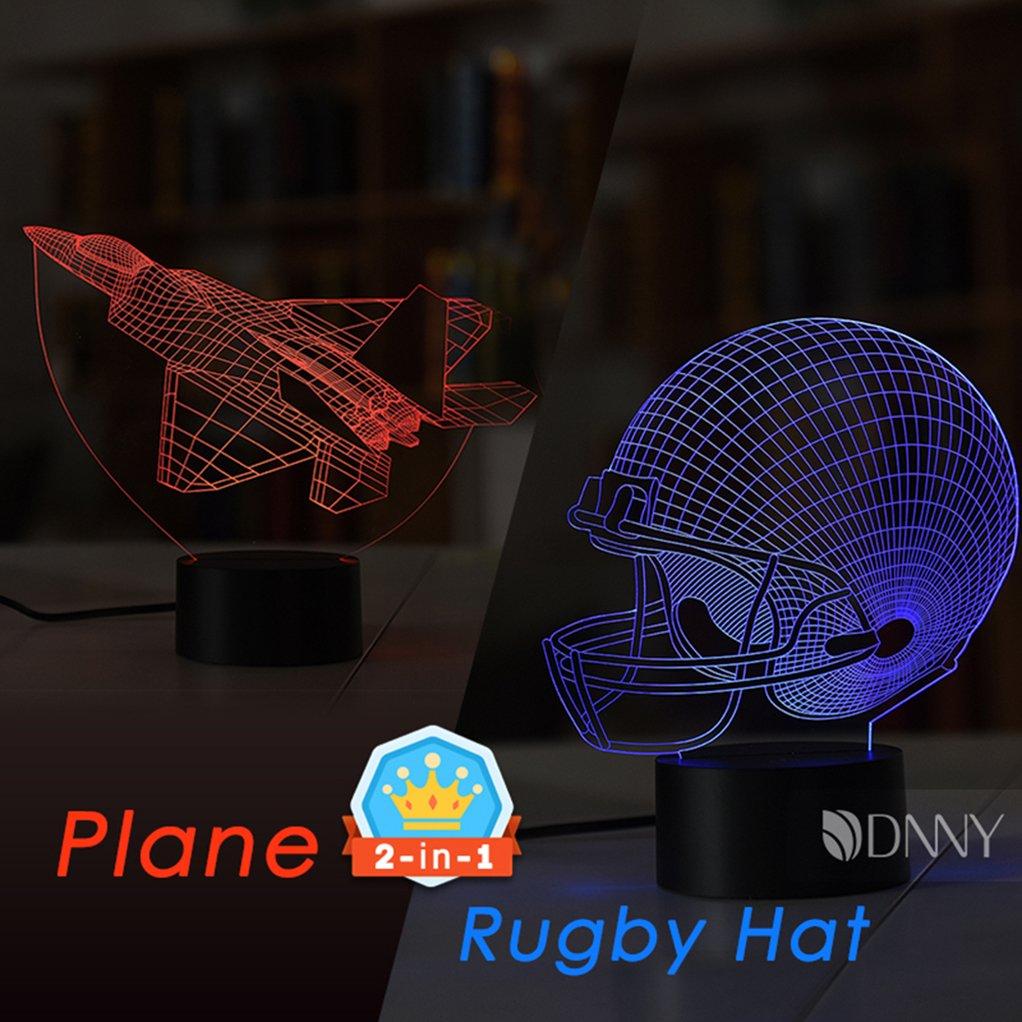 マルチカラー3d Illusionナイトライト7色変更Optical Illusion LEDランプUSBタッチボタン MXSX-NL-524F B071ZGCHVC 13424 Rugby Hat and Plane Rugby Hat and Plane