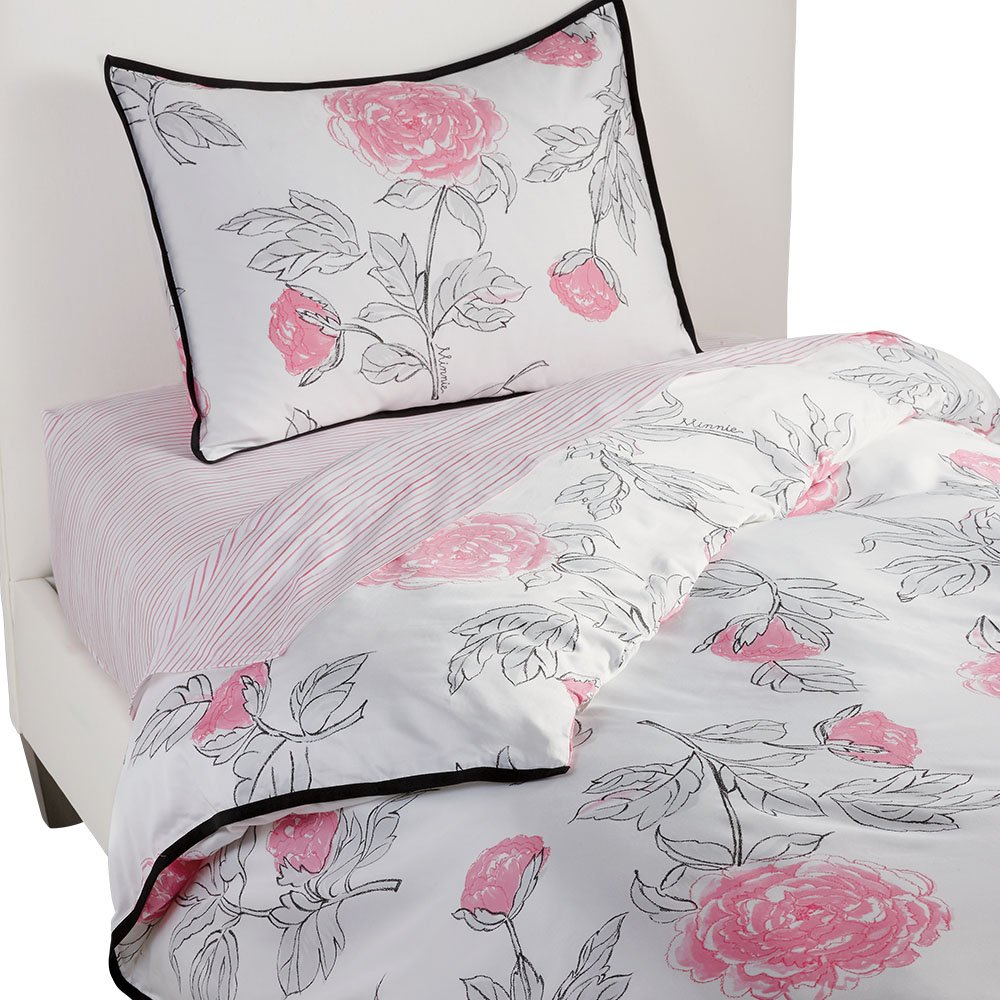 Ethan Allen | Disney  Minnie Mouse Peony Duvet Cover, Minnie Pink (Dark Pink), Twin