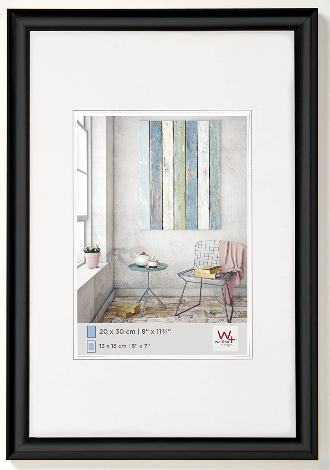 Walther Design KP824B Trendstyle Picture Frame, 7 x 9.50 inch (18 x 24 cm), Black
