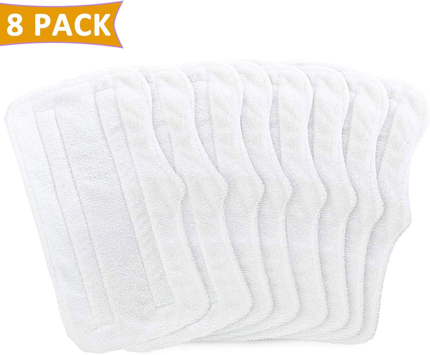 FFsign 8 Pack Steam Mop Pads for Shark Light and Easy Steam Mop Steam Cleaners S3101 S3101n2 S3250 S3251 SK460 SK410 SK435CO SK140 SK141, 8 Pcs Washable Microfiber Cleaning Steamer Pads