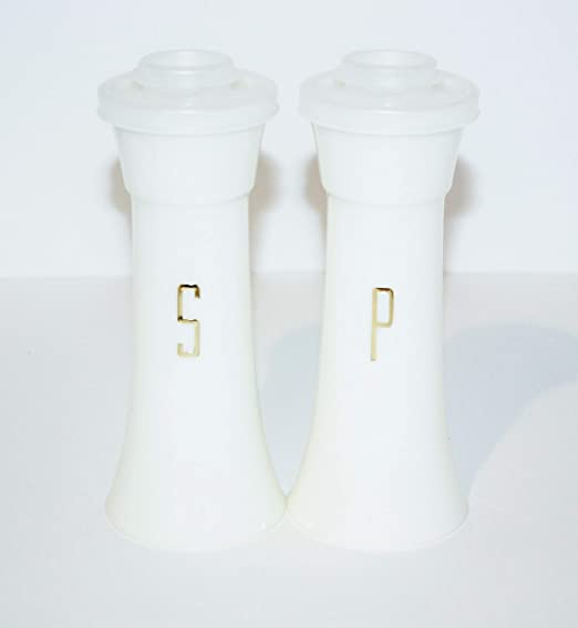 """Tupperware Salt /& Pepper Shakers Hourglass Set 6/"""" Tall Large Vintage White Gold"""