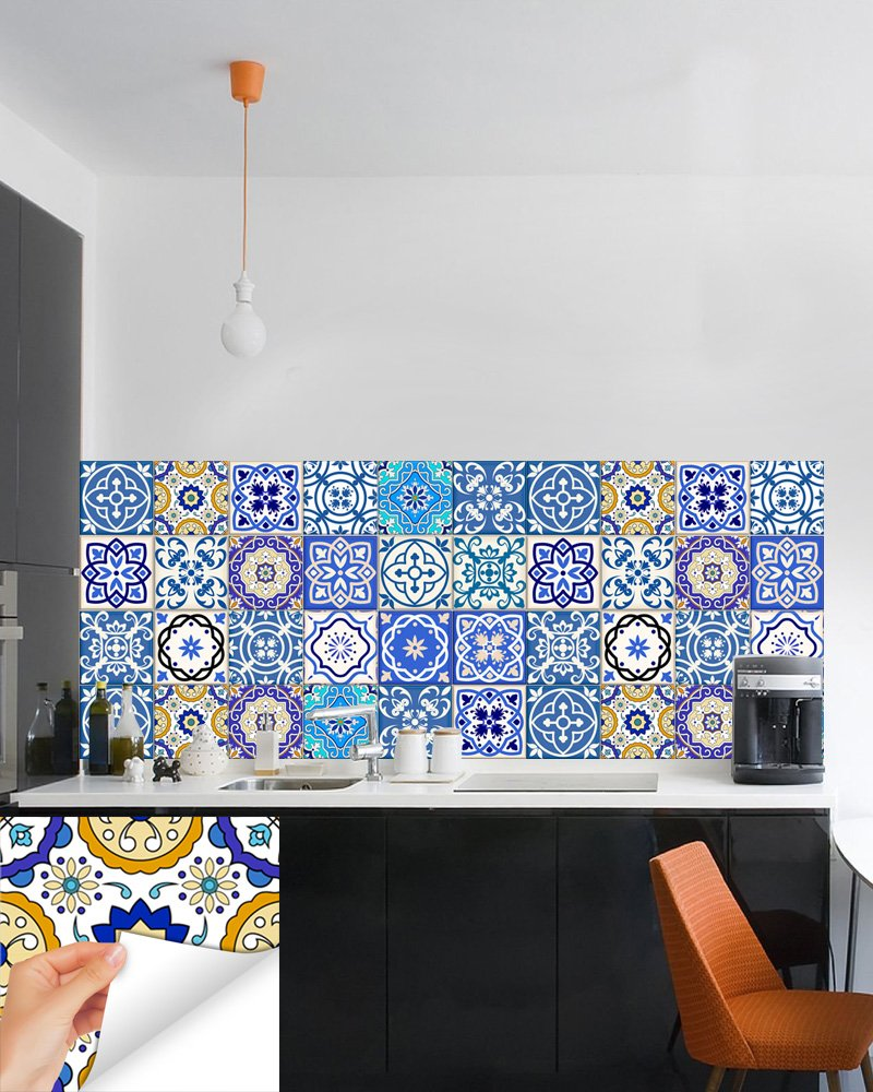 Amazon.com: Backsplash Tile Stickers 24 PC Set Authentic Traditional ...