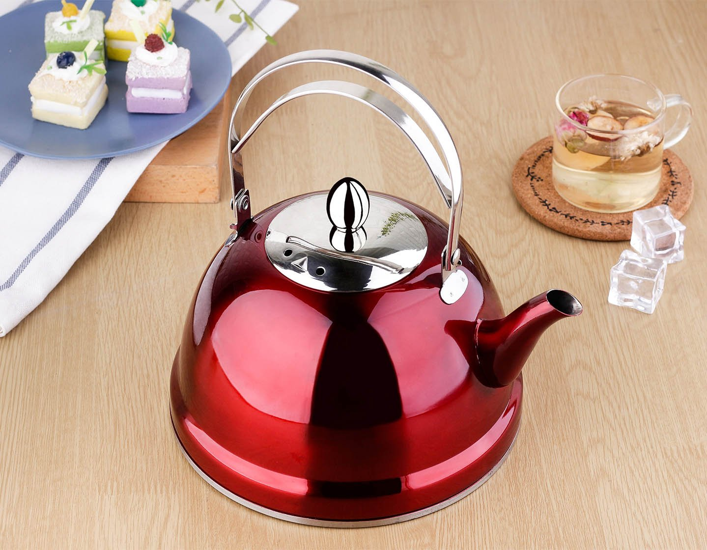 2.1 Quart 68 Ounce Red by Onlycooker Teakettles-2-Red-2.0L Tea Pot with Infuser Loose Tea for Stove Top 18//8 Stainless Steel Coffee Kettle 8 Cup Quick Boil Sturdy Teapot Hot Water Mirror Finish 2 Liter