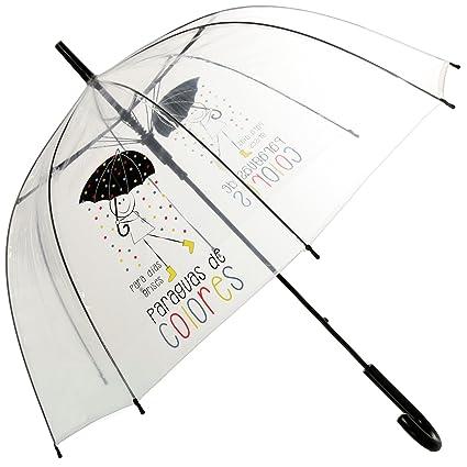 DRW - Paraguas Mensaje Positivo Transparente para días Grises Paraguas de Colores 85x84cm