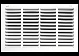 "24"" X 14 Steel Return Air Filter Grille for 1"" Filter - Removable Face/Door - HVAC Duct Cover - Flat Stamped Face - White [Outer Dimensions: 26.5 X 15.75]"