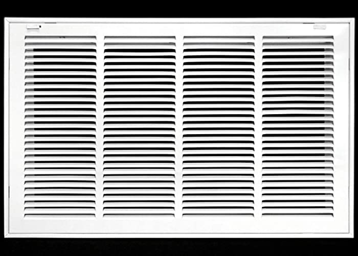 """24"""" X 14 Steel Return Air Filter Grille for 1"""" Filter - Removable Face/Door - HVAC Duct Cover - Flat Stamped Face - White [Outer Dimensions: 26.5 X 15.75]"""