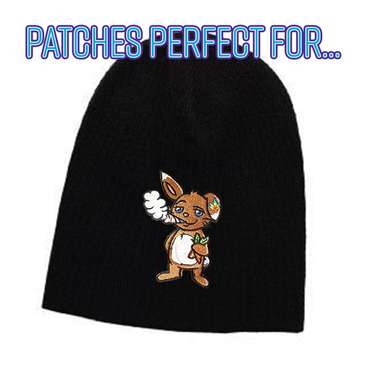 Pot Smoking Pals FUNNY BUNNY RABBIT Iron on Embroidered Patch Applique