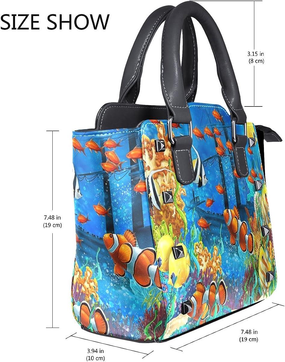 Jennifer Turtle In Sea World PU Leather Top-Handle Handbags Single-Shoulder Tote Crossbody Bag Messenger Bags For Women