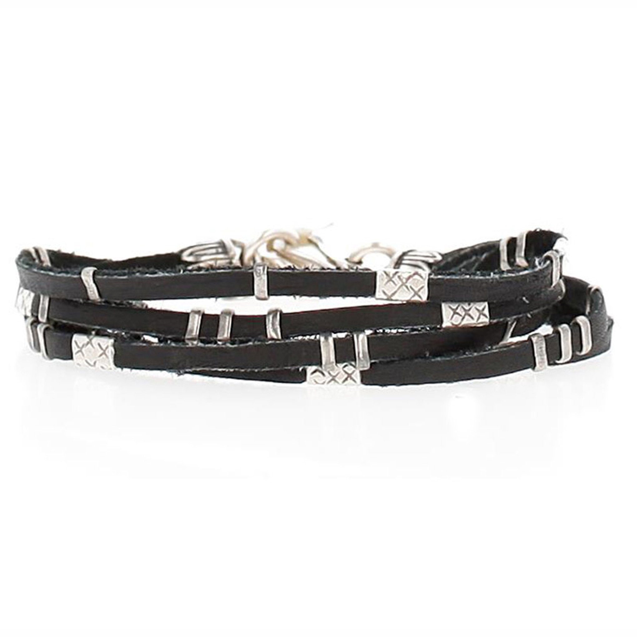 Chan Luu Multi Strand Single Wrap Bracelet in Silver & Black Leather by Chan Luu