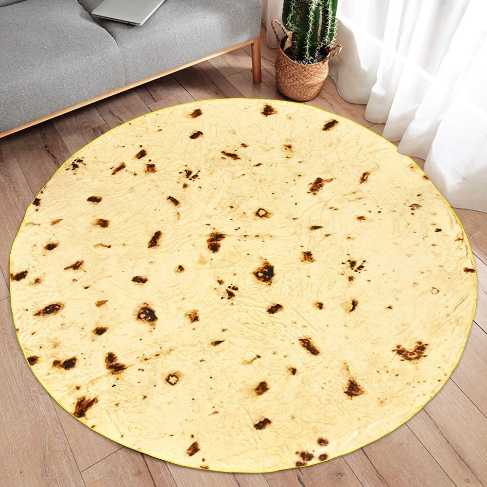 60 inches Giant Flour Tortilla Throw Blanket Novelty Tortilla Blanket for Your Family JUEMEL Burritos Blanket Soft and Comfortable Flannel Taco Blanket for Girl Boy Kids and Adult