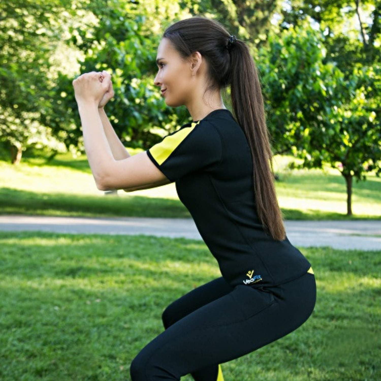 VEOFIT Damen Schwitz T-Shirt hohe Schlankheits-T/öne die Arme R/ücken und H/üften f/ür eine straffere Haut und eine verfeinerte Silhouette Gr/össe S-XXXL den Bauch