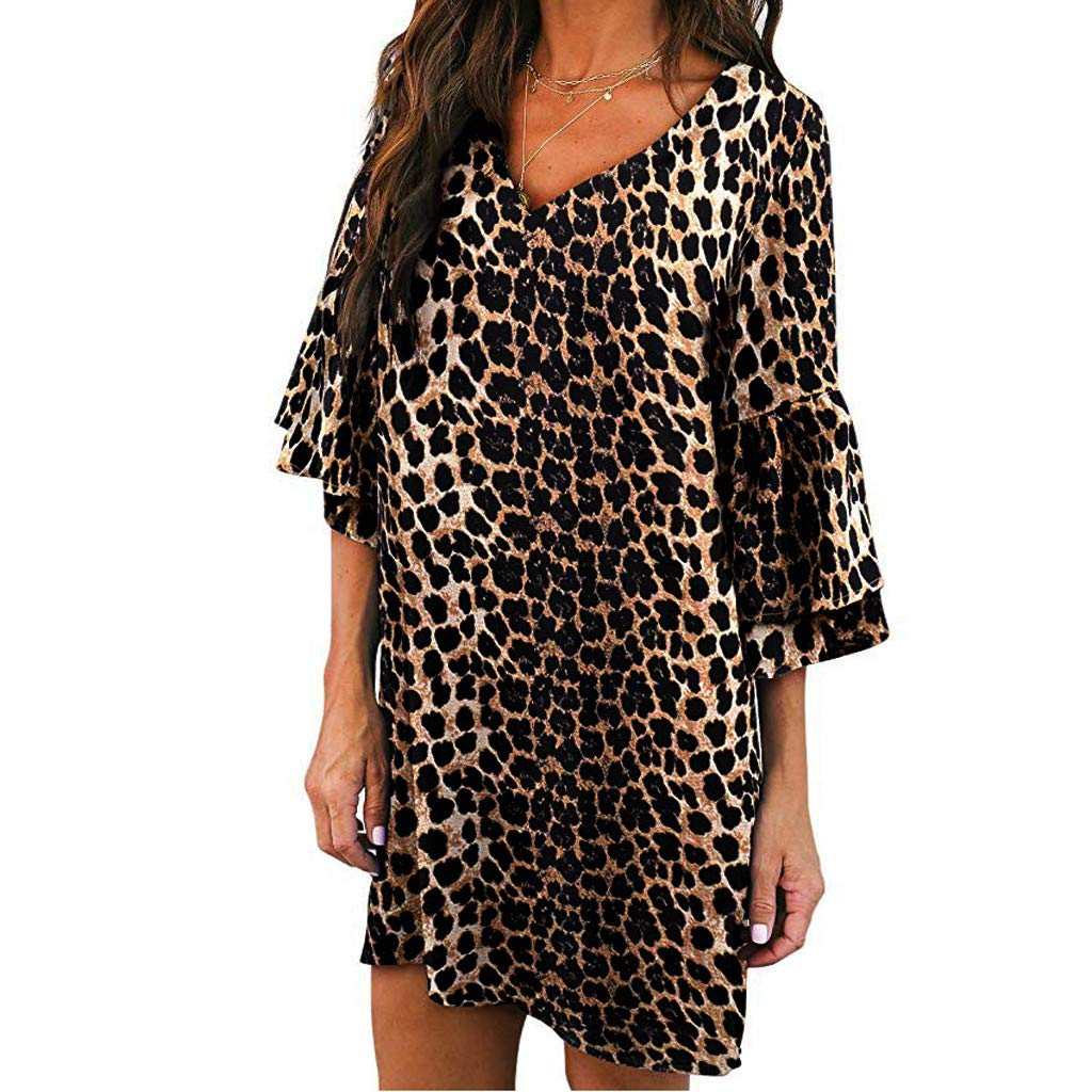 Women V-Neck Dress - Half Flare Sleeve Leopard Printed Casual Party Beach Dress,2019 Fashion